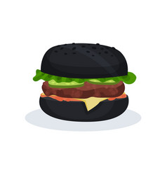 black burger fast food on a vector image