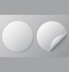 blank round sticker mock up with curved corner vector image