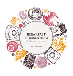Breakfast table wreath in color morning food vector