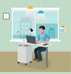 businessman sitting in office with laptop vector image