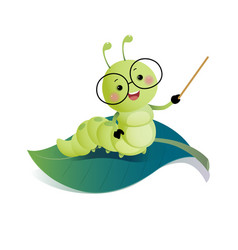 cartoon caterpillar teacher wearing glasses vector image