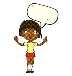 Cartoon girl asking question with speech bubble vector