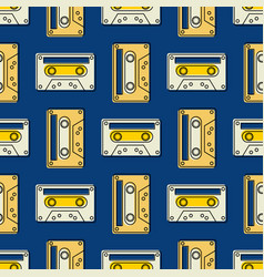 cassette tape vintage seamless pattern vector image