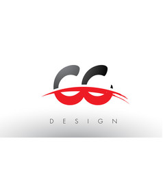 Cc c c brush logo letters with red and black vector