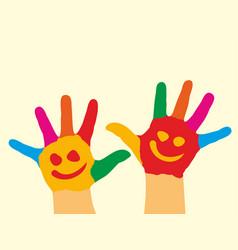 Children hands in paint vector