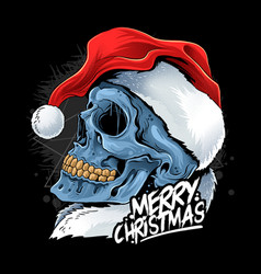 christmas skull wearing santa claus hat vector image