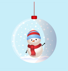 christmas toy snow ball with snowman inside vector image