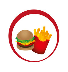 Circular emblem with hamburguer and potatoes fries vector