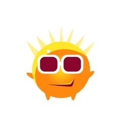 Cool Smirk Round Character Emoji vector image