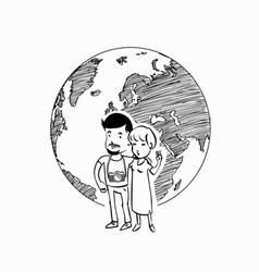 couple travel world logo vector image