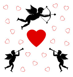 cupids and red heart vector image
