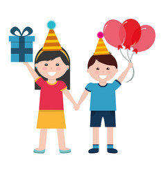 cute boy and girl with birthday gift and balloons vector image