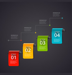 Dark abstract infographics number options template vector