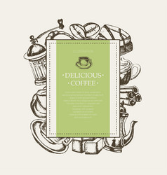 delicious coffee - monochromatic hand drawn square vector image