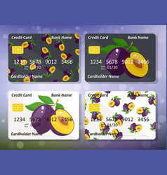 Design for credit card with plum vector