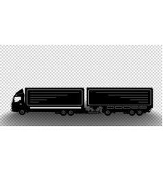 detailed silhouette truck with a trailer vector image