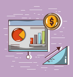 Document business with statistics and coin vector