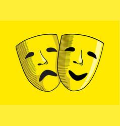 drama and comedy mask symbol vector image