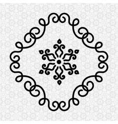Elegant Flourish Twirl Frame and Flower in Line vector image