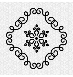 elegant flourish twirl frame and flower in line vector image