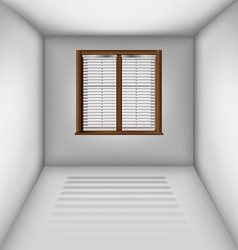 Empty room with window and blinds vector