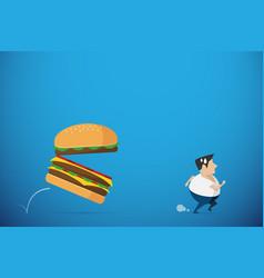 Fat man running away from burger health concept vector