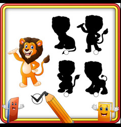 find the correct shadow cartoon funny lion posing vector image