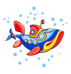 Fish submarine icon cartoon style vector