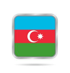 Flag of azerbaijan metallic gray square button vector