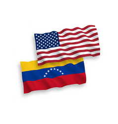 Flags venezuela and america on a white vector
