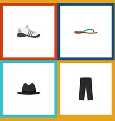Flat icon garment set of sneakers pants panama vector