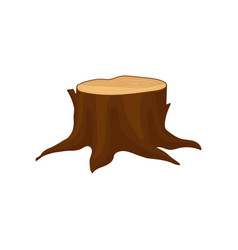 Flat icon of old brown tree stump with vector