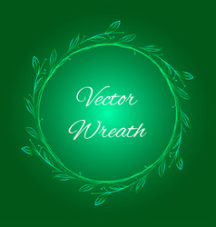 green christmas background with wreath vector image