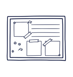 hand drawn doodle pin board needles and empty vector image