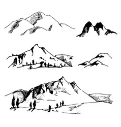 Hand drawn sketch of abstract mountain vector