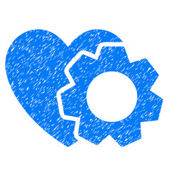 Heart repair gear grunge icon vector