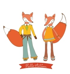 Hello autumn elegant card with cute fox characters vector
