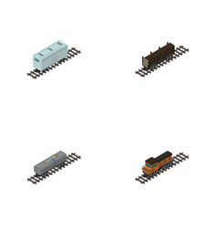 Isometric train set of train oil wagon railroad vector