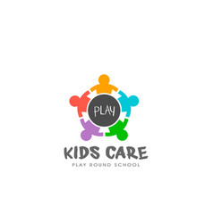 kids play round table logo vector image