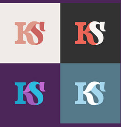 Ks letter logo template caps customizable vector