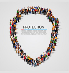large group of people in the shield shape vector image