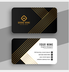 Luxury business card with golden lines design vector