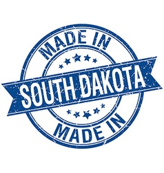 made in South Dakota blue round vintage stamp vector image