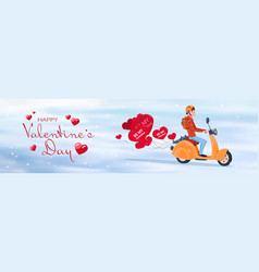 man riding retro motor bike with red heart shapes vector image