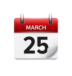 March 25 flat daily calendar icon Date vector