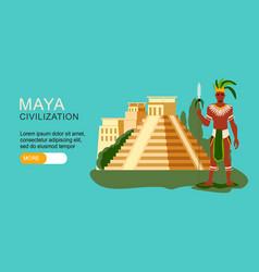 Maya civilization banner vector