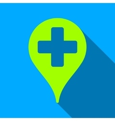 Medical Map Marker Flat Long Shadow Square Icon vector image