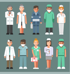 Medical staff in uniforms isolated cartoon vector