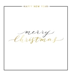 Merry Christmasgold text isolated on white vector image