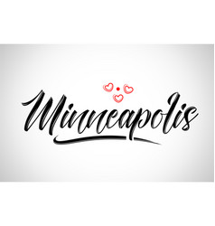 Minneapolis city design typography with red heart vector